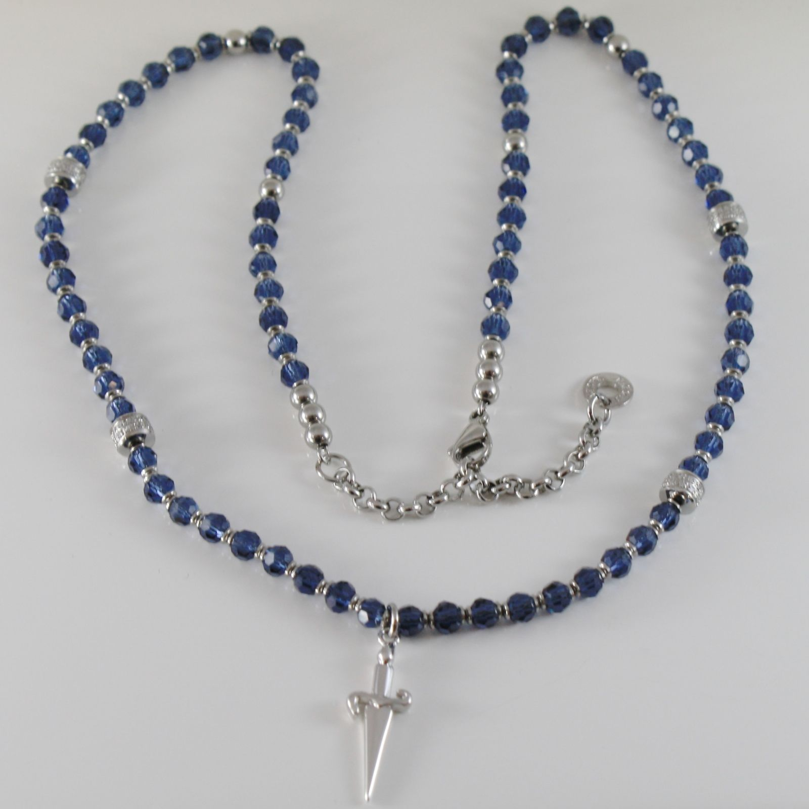 925 STERLING SILVER BLUE NECKLACE BY CESARE PACIOTTI, SWORD PENDANT, 22 INCHES