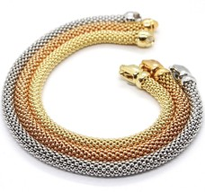 3 18K Rose Yellow White Gold Bracelets 7.3 Inches, Basket Weave, 5 Mm Thickness - $3,282.25
