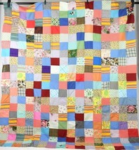 Vtg Block Patchwork Quilt Topper Twin Bed Spread Blanket Cover Floral Re... - $74.24