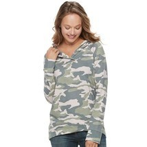 WOMEN'S SONOMA GOODS FOR LIFE HOODED FRENCH TERRY SWEATER CAMO SIZE SMAL... - $37.97 CAD