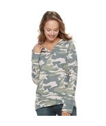 WOMEN'S SONOMA GOODS FOR LIFE HOODED FRENCH TERRY SWEATER CAMO SIZE SMAL... - £22.20 GBP