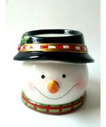 Snowman Head Black Hat Holly Berries...Ceramic Christmas Holiday Candle ... - $11.14