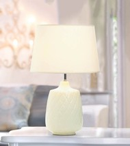 White Quilted Diamond Pattern Ceramic Base Table Lamp w/ Fabric Shade - $45.03