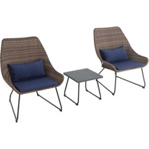 Outdoor Seating Furniture Three Pieces Wicker Patio Seating Set in Navy ... - $348.82