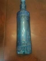 """One 12.25"""" Tall Glass Bottle w/Cork in Capri Blue - Raised Design - $29.58"""