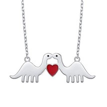DAOCHONG 925 Sterling Silver Animal Love Red Heart Dinosaur Pendant Neck... - $34.19