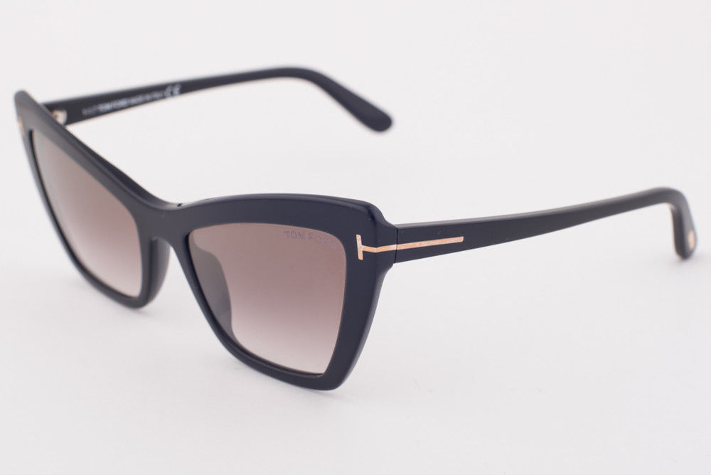 Tom Ford Valesca Black / Brown Gradient Sunglasses TF555 01G