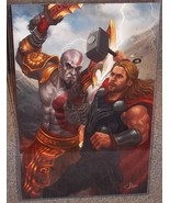 Avengers Thor vs God Of War Kratos Glossy Art Print 11x17 In Hard Plasti... - $24.99