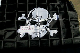 "Flag 3X5 3'X5"" 90X150 cm PIRATE With Helmit jolly roger skull and bones - $9.90"