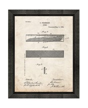Ruler Patent Print Old Look with Beveled Wood Frame - $24.95+
