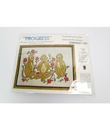 Progress Crewel Stitchery Kit Monkey Do See No Evil Sewing Vintage - $32.95