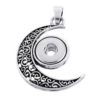 White Fashion Moon Crystal Snap Buttons Pendant DIY Button Jewelry Fit 1... - $6.69