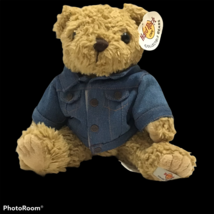 Hard Rock Cafe Collectible Plush Bear Chicago with Denim Jacket New W Ta... - $49.49