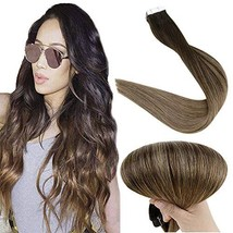 Fshine 20 Inch Tape In Real Human Hair Extensions Balayage Tape In Hair Extensio