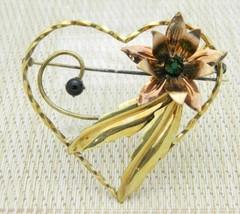 1/20 12k GF Floral Leaf Heart Green Rhinestone Large Brooch Pin Vintage - $29.69