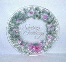"Indiana Glass Rainbow Mist ""Season's Greetings"" Wreath Platter 13 1/2"" #... - $9.99"