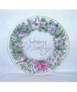 "Indiana Glass Rainbow Mist ""Season's Greetings"" Wreath Platter 13 1/2"" #... - $9.99"
