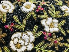 Vintage Beaded Floral Purse Handbag with Beaded Handles Black White Gree... - $86.11