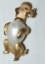 Trifari Poodle Pin Brooch Vtg Costume Jewelry Jelly Belly Rhinestone Eye - $72.48