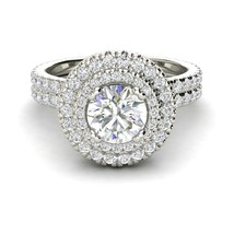1.46Ct Round Attractive Diamond Double Halo Engagement Ring 14K Real Whi... - $324.21