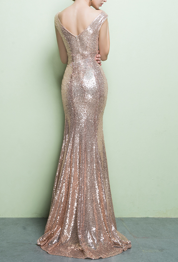 ROSE GOLD Sequin Maxi Dress Mermaid Slit Maxi Sequin Dress Plus Size Sequin Gown