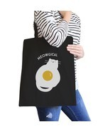 Meowgical Cat And Fried Egg Black Canvas Bags - £11.44 GBP