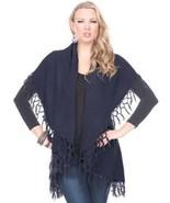 Versatile Indigo Ash Fringed Vest / Shawl - With the Look & Feel of Cash... - $24.90