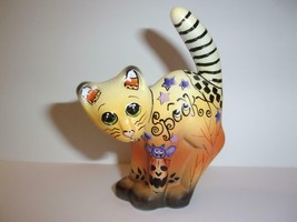 "Fenton Glass Halloween ""Spooky"" Scaredy Cat Figurine Ltd Ed #12/30 Kim B... - $174.12"