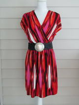 Chicos Multi Color Stretchy Sleeveless Dress w/ Leather Belt Size 1 EUC - $21.94