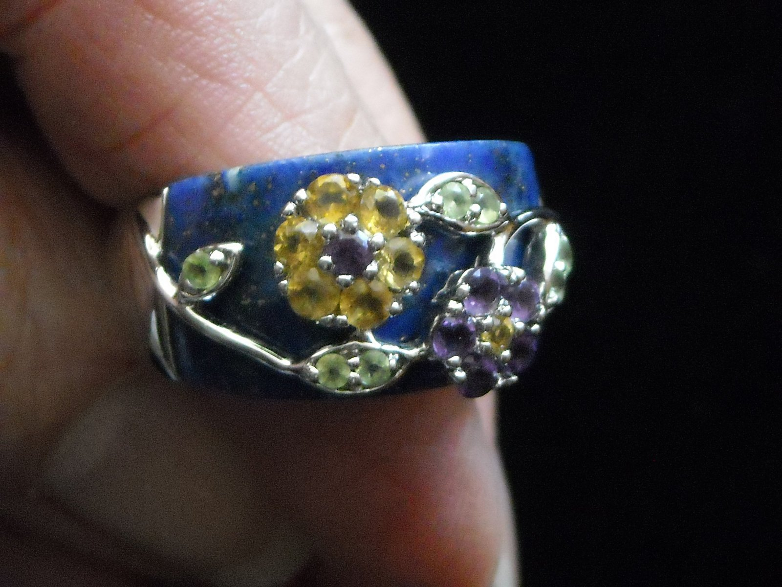 Vintage Sterling Ring Inlaid Laips Lazuli & Gemstones Set In Sterling Flowers 9 image 5