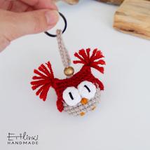 Christmas Keychain Owl Key Chain Xmas Ornament Handmade Stuffed Plush To... - $11.00