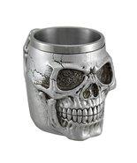 Creepy Metallic Silver Skull Mug W/Stainless Steel Liner - $18.78