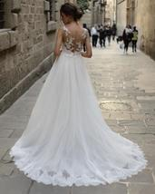 Illusion Mermaid Wedding Dresses with Detachable Tulle Train Lace Appliques image 2