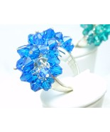 Blue Swarovski Crystal Beaded Cha Cha Sterling Bling Cocktail Ring Size 7 - $69.00