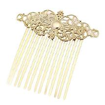 2 Pcs Gold Carved Flower Vines Chinese Style Hairpin Decorative Hair Combs DIY B