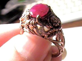 RING NATURAL AFRICAN RUBY 8.25  STERLING silver 925 real FLORAL old PINK... - £41.82 GBP
