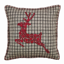 """Weston Button Reindeer Pillow - 16""""x16"""" -VHC Brands- Farmhouse Country Christmas"""