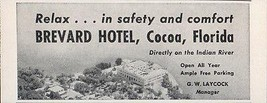Brevard Hotel Cocoa Florida Directly on the Indian River 1956 Travel Tou... - $10.99