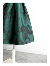 Women Dark Green Pleated Midi Skirt Outfit Pleated Party Skirt Plus Size image 13
