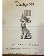 Vintage Design Knitted Dog Coat Pattern 539 - $3.66