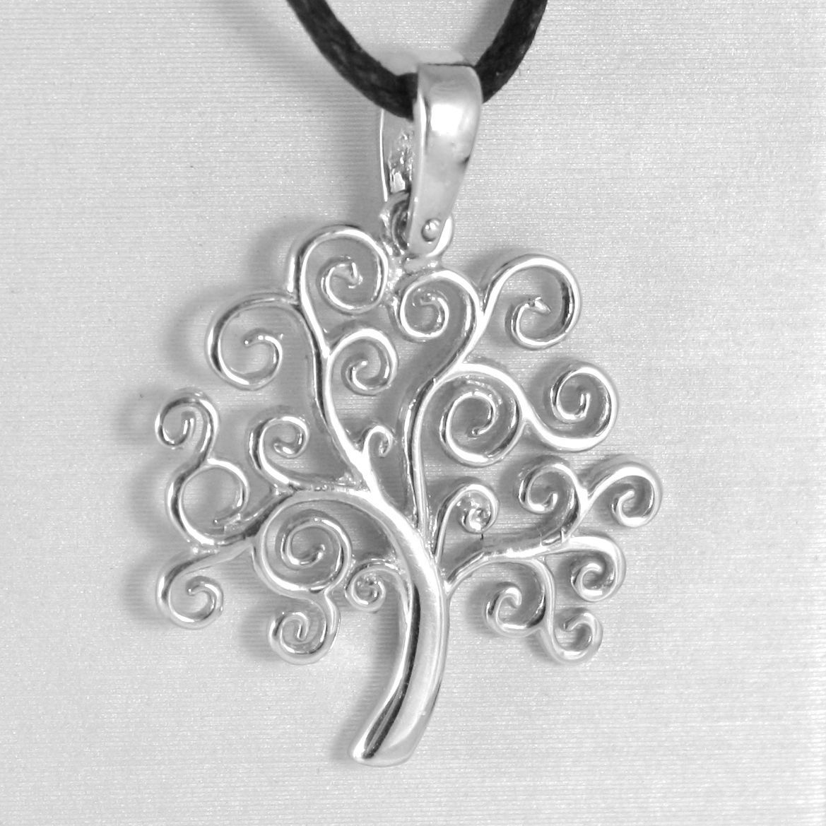 18K WHITE GOLD TREE OF LIFE PENDANT, CHARM, 0.95 INCHES, 24 mm, MADE IN ITALY
