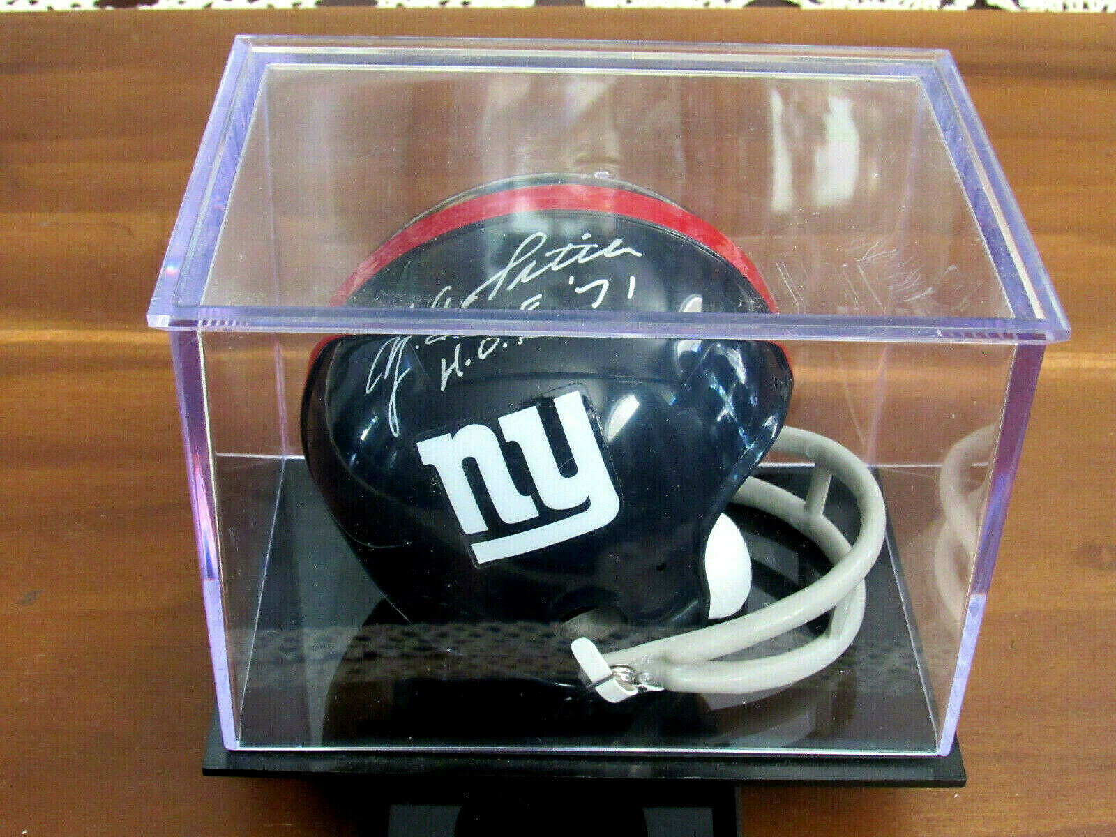 Primary image for Y.A. TITTLE NEW YORK GIANTS 49ER HOF QB SIGNED AUTO MINI TWO BAR HELMET JSA CASE