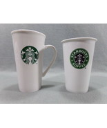 2 Starbucks Coffee mugs  Spotless Perfect Condition Tall Handled & Trave... - $16.55