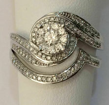 14K White Gold Over 2Ct Round Cut Diamond Double Halo Engagement Bridle ... - $139.99