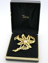VTG TACOA Gold Tone Faux Pearl Flower Leaf Pin Brooch Post Earrings Set NIB - $19.80
