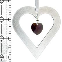 Aluminum and Crystal Heart Ornament  18mm image 2