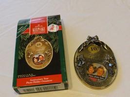 RARE ornament Hallmark Christmas Keepsake Anniversary photo holder 10 ye... - $10.68