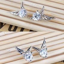 5 pair Women Silver Plated Jewelry Angel Wings Crystal Ear Stud Earrings - $18.99