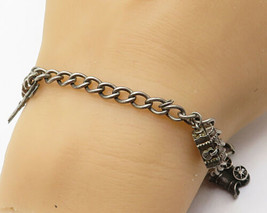 925 Sterling Silver - Vintage Treasure Chest Variety Link Charm Bracelet - B4082 - $64.64