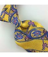 Robert Talbott Carmel Necktie Bold Floral Brocade Luxury Silk Blue Yello... - $158.39